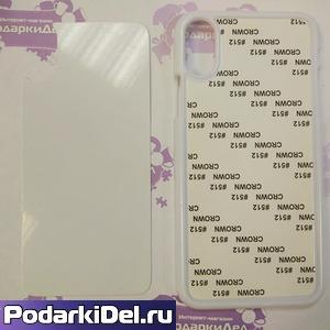 Чехол пластиковый IPhone X белый (вставка под сублимацию)