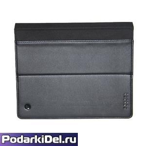 Чехол ЧЕРНЫЙ для планшета из натуральной кожи, со вставкой под сублимацию (205х106мм)