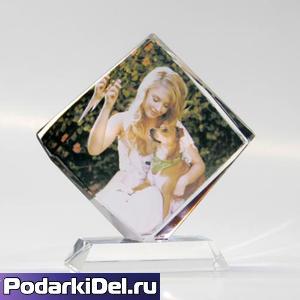Фотокристалл КВАДРАТ на подставке 90х90mm  (ХР30В)