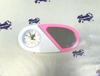 Часы пластиковые СЕРДЦЕ 19,5*9 бело-розовые