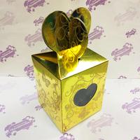 Коробка подарочная для КРУЖКИ с окном Сердце Золото