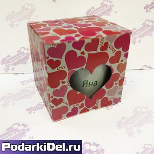 Коробка подарочная для КРУЖКИ с окном сердце Розовые Сердечки