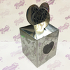 Коробка подарочная для КРУЖКИ с окном сердце Серебро