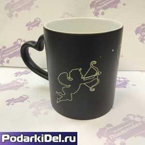 Кружка ХАМЕЛЕОН черная (матовая) с рисунком АМУРЧИК