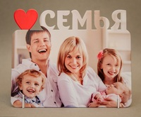 """Фоторамка металл """"Семья"""" (сердечко) 168x122х2мм (для сублимации)"""