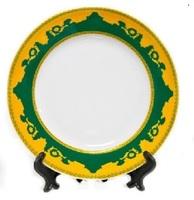 Тарелка белая d-20см каемка с рисунком (ЗЕЛЕНО-ЗОЛОТОЙ РИСУНОК)