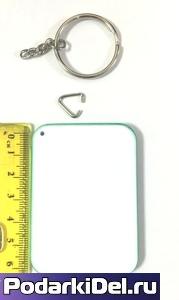 Фотобрелок пластиковый Прямоугольник (белый/зеленый, красный)