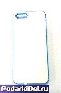 """Чехол пластиковый IPhone 5/5S """"голубой"""" (со вставкой под сублимацию)"""