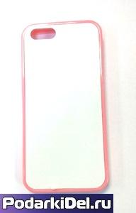 """Чехол силиконовый IPhone 5/5S """"розовый"""" (со вставкой под сублимацию)"""