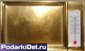 ФотоМагнит ЗОЛОТОЙ с термометром (86х65мм.)