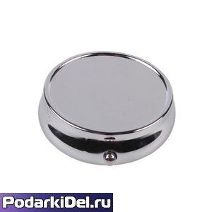 Таблетница (шкатулка для пилюль и таблеток)+ линза  круглая 5см без зеркала Серебро под полиграфию